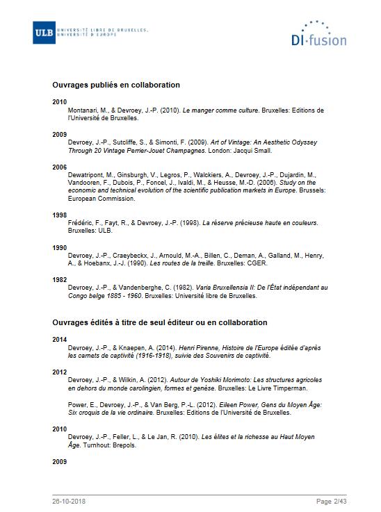 Liste de publication