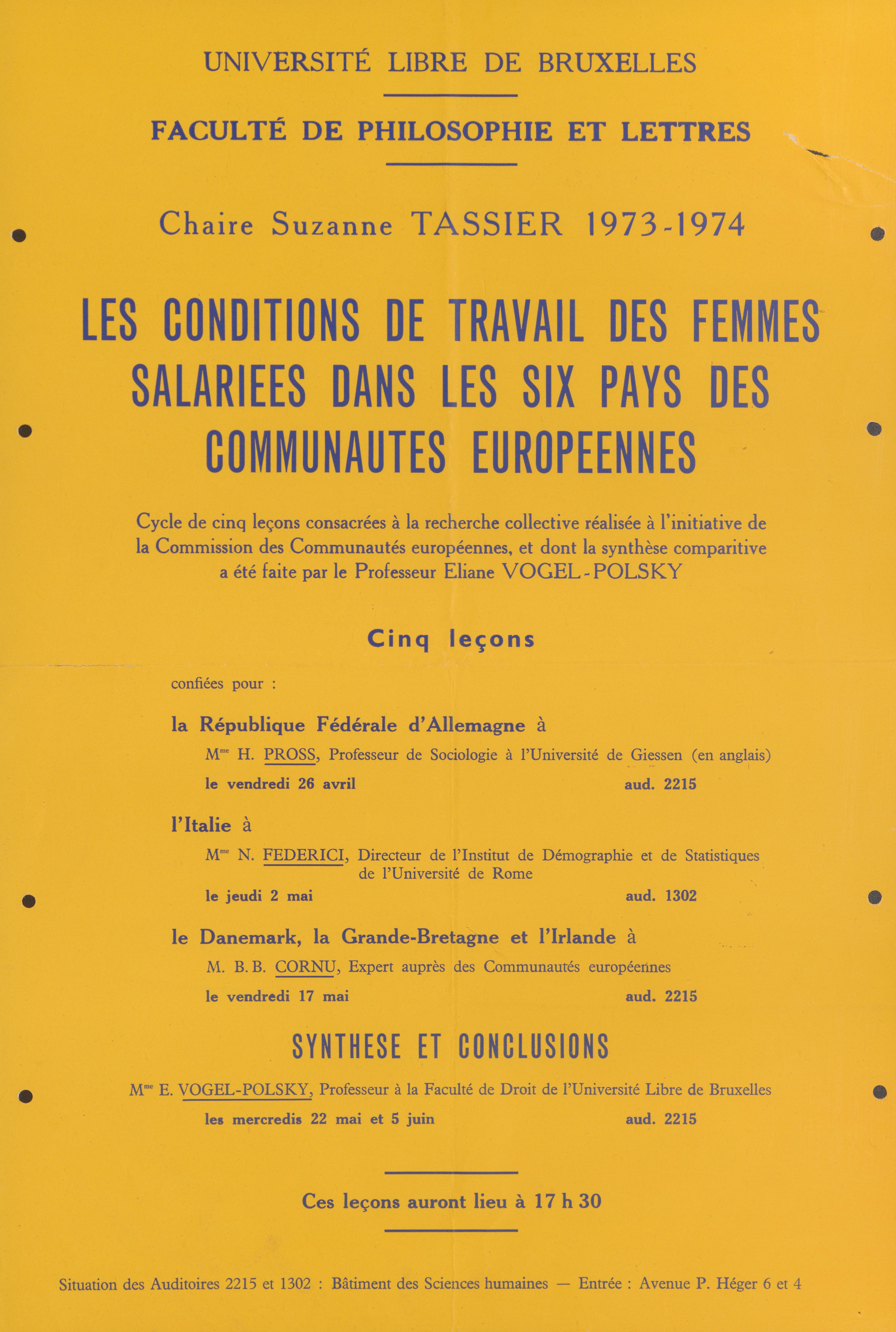 Les conditions de travail des femmes salariées dans les six pays des communautés européennes